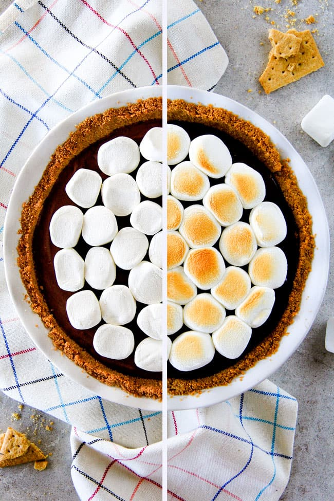 Make ahead Almost No Bake Nutella S'mores Pie is decadantly rich and creamy topped with golden marshmallows and SO EASY! I made this for a dinner party and everyone wanted the recipe!