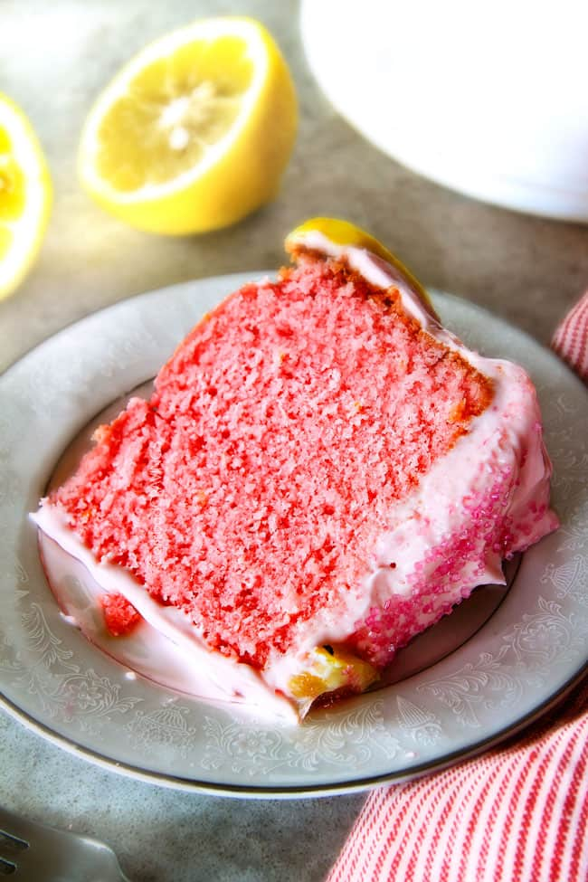 A slice of a Pink Lemonade Pound Cake on a white plate.