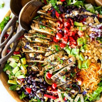 Cilantro Lime Chicken Taco Salad with Creamy Baja Catalina Dressing