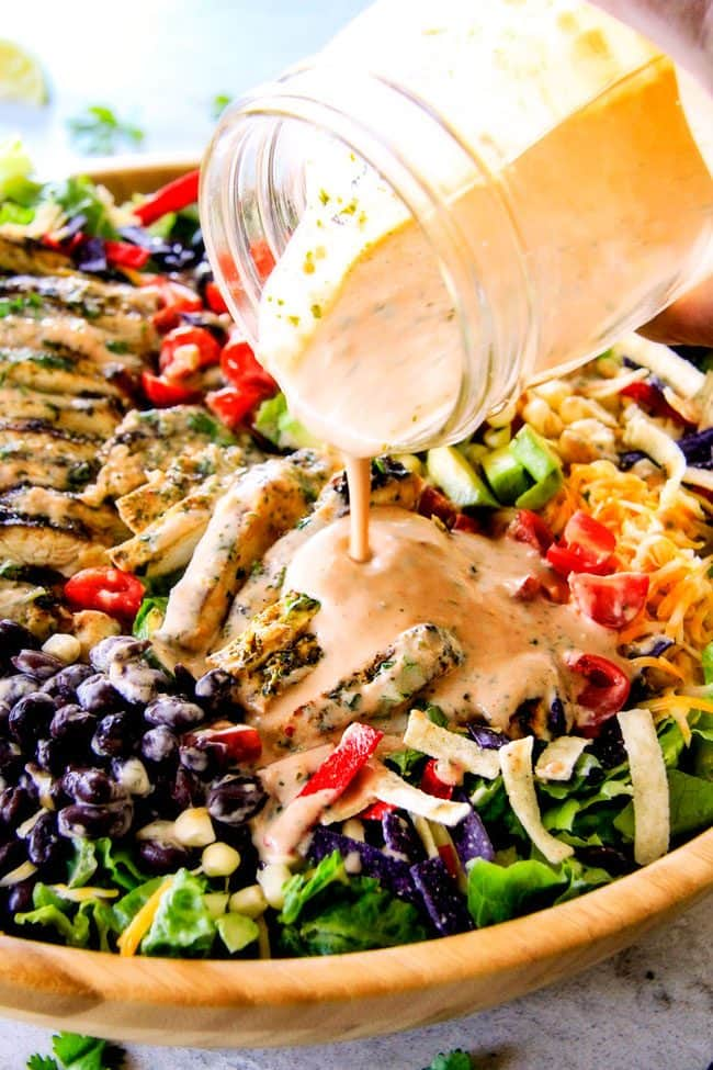 I couldn't stop eating this Cilantro Lime Chicken Taco Salad!  Its bursting with tender, juicy chicken and the sweet & tangy Creamy Baja Catalina Dressing is out of this world delicious!  This combo is pure heaven!