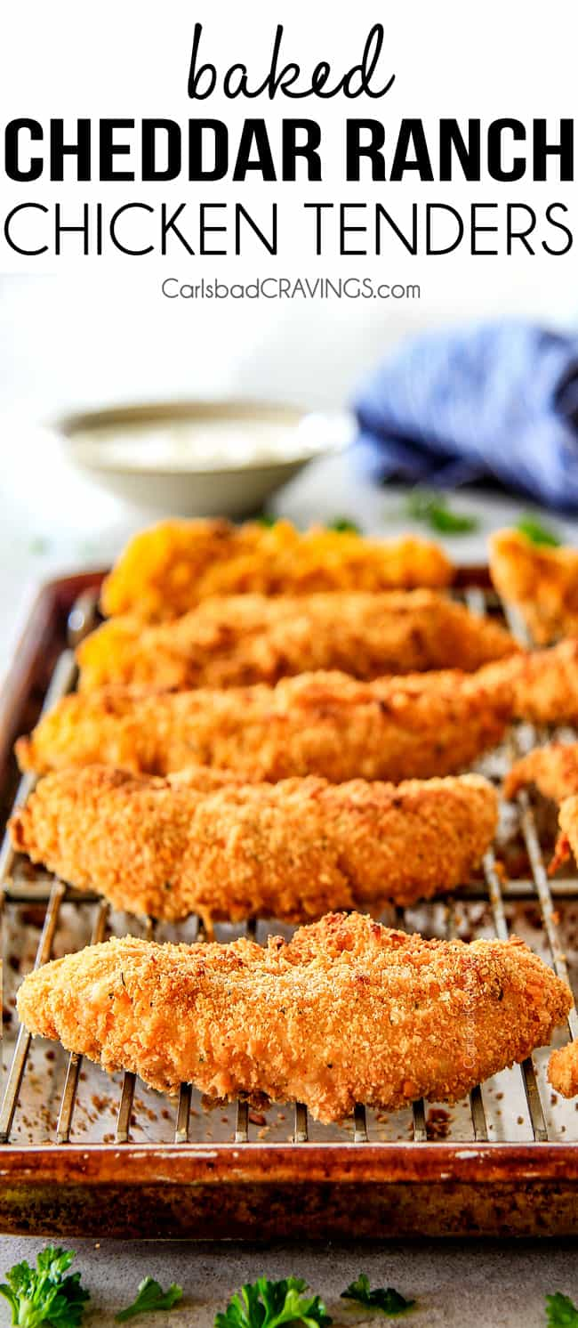 incredibly tender, juicy flavorful Baked Cheddar Ranch Chicken Tenders coated in the most AMAZING cheese cracker breading!  These are pure addicting and SO EASY!