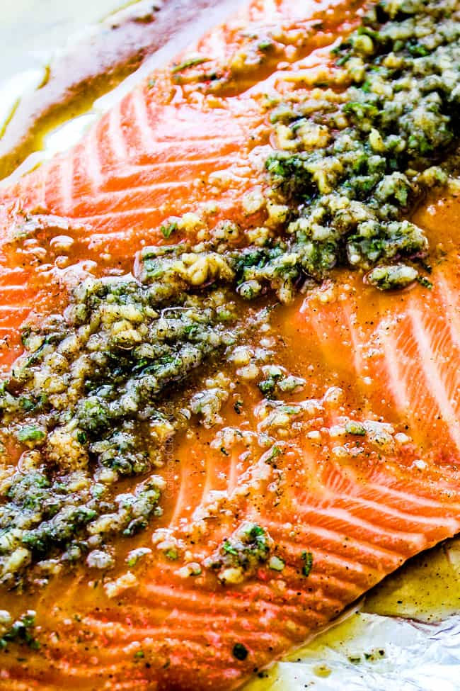 25 MINUTE Baked Lemon Garlic Butter Salmon with Crispy Parmesan Panko & Broccoli!  This salmon is not only bursting with flavor and sooo tender but the easiest, most satisfying meal that tastes totally gourmet!  My parents were blown away by this meal!