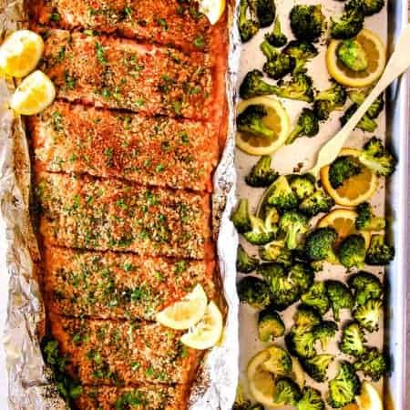 Baked Lemon Garlic Butter Salmon with Crispy Parmesan Panko & Broccoli