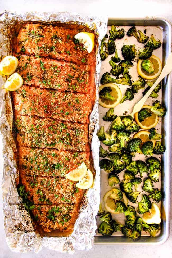 25 Minute Baked Lemon Garlic Butter Salmon With Crispy Parmesan Panko Amp Broccoli