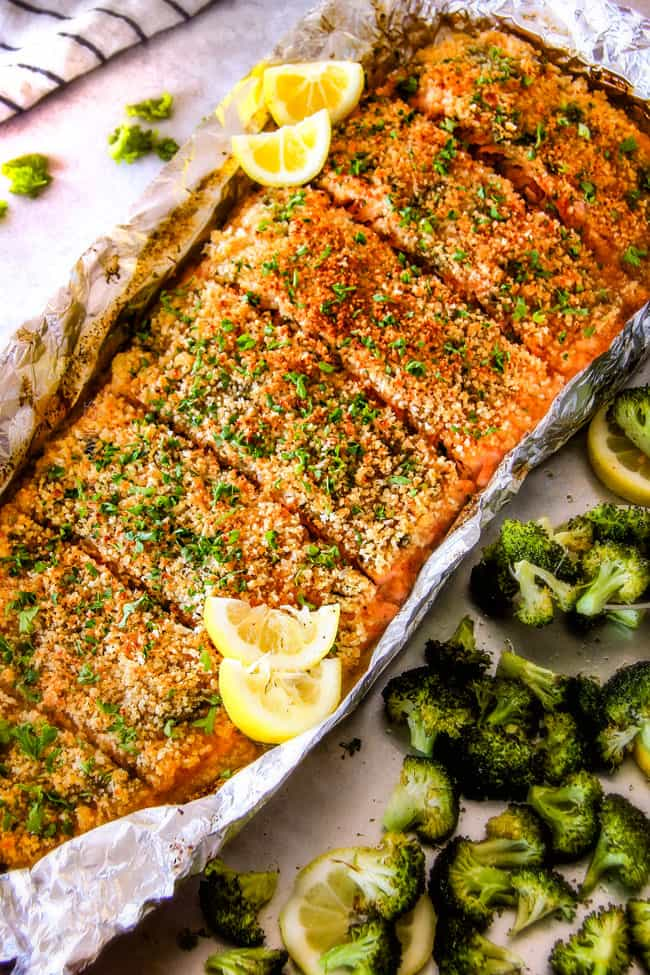 25 Minute Baked Lemon Garlic Butter Salmon With Crispy Parmesan