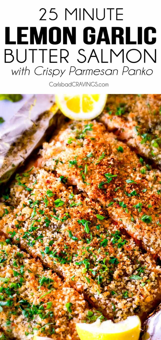 25 MINUTE Baked Lemon Garlic Butter Salmon with Crispy Parmesan Panko & Broccoli!  This salmon is not only bursting with flavor and sooo juicy and tender but the easiest, most satisfying meal that tastes totally gourmet!  My parents were blown away by this meal!