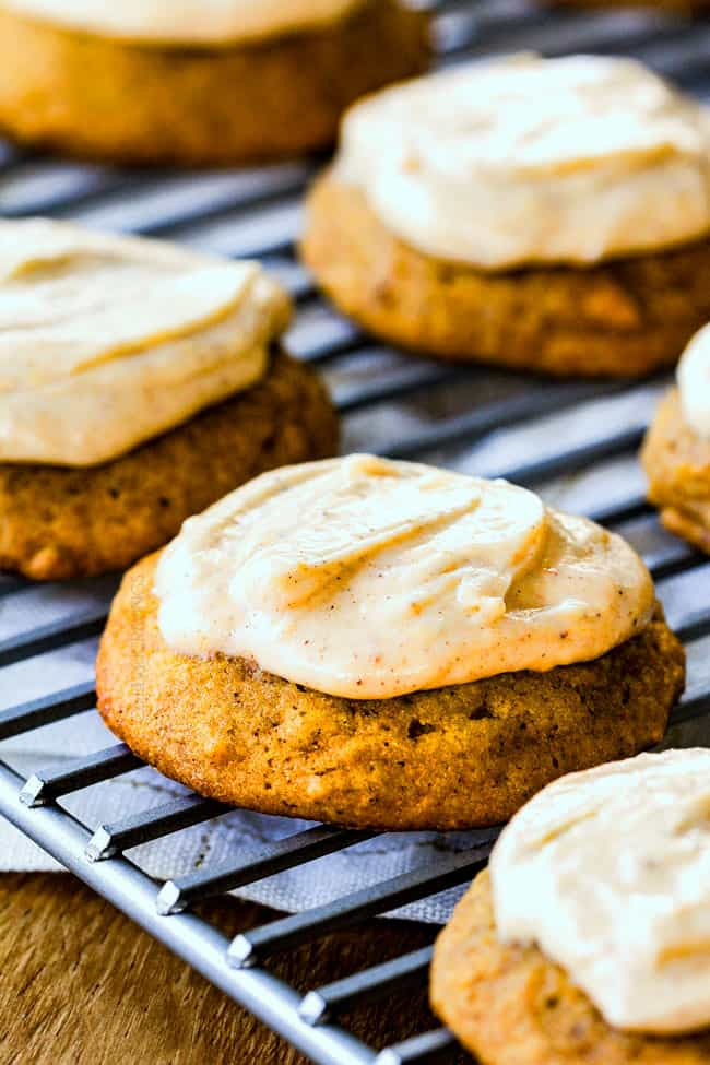 These are the BEST Pumpkin Cookies I've ever had!  They are super soft, tons of flavor and the Cinnamon Cream Cheese Frosting is so addicting I was licking the bowl!   I brought these to a Halloween Party and they were the first dessert gone!