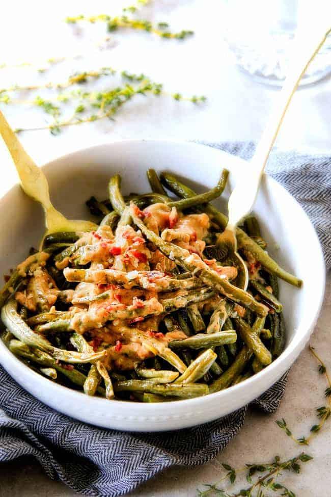Baked Green Beans in a white bowl