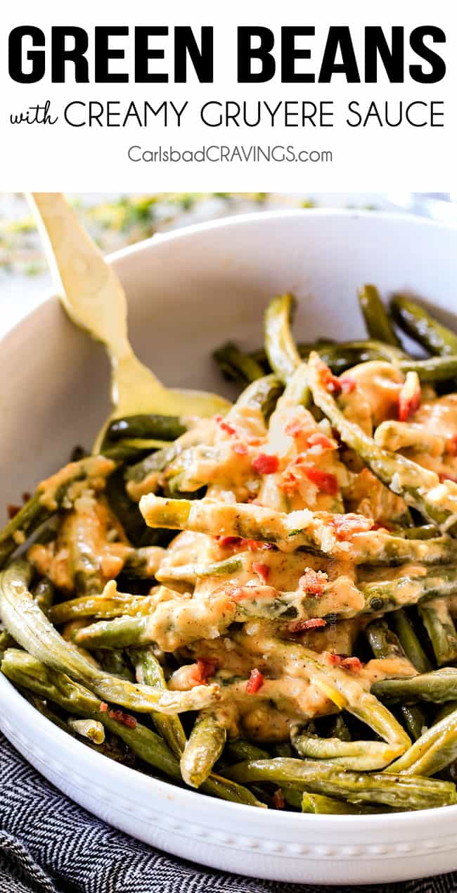 Roasted Green Beans with bacon in a white bowl with a gold serving spoon
