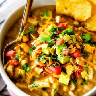 Crockpot Creamy White Chicken Chili (Lightened Up!)