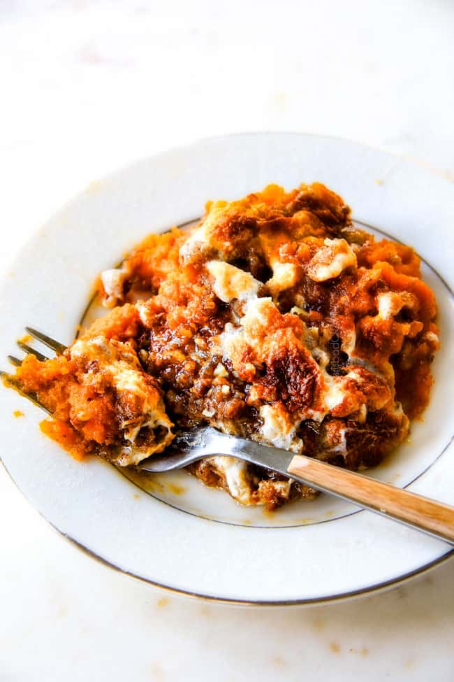 The best ever Sweet Potato Casserolewith Marshmallows AND buttery, brown sugar Pecan Topping! ThisSweet Potato Casserole has been our favorite recipe ever since we tasted it almost a decade ago and you will love that you can assemble itthe night before Thanksgiving or Christmas!No Thanksgiving table is complete without thiscomforting classic!
