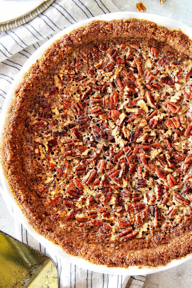 overhead view of homemade pecan pie