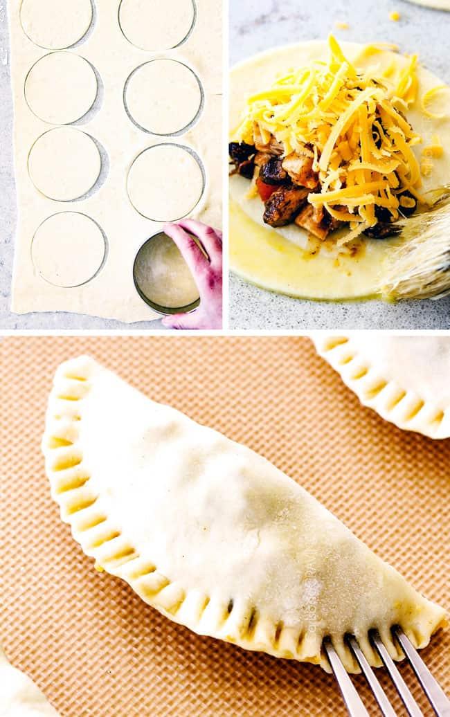 Showing how to stuff Chipotle Chicken Empanadas.