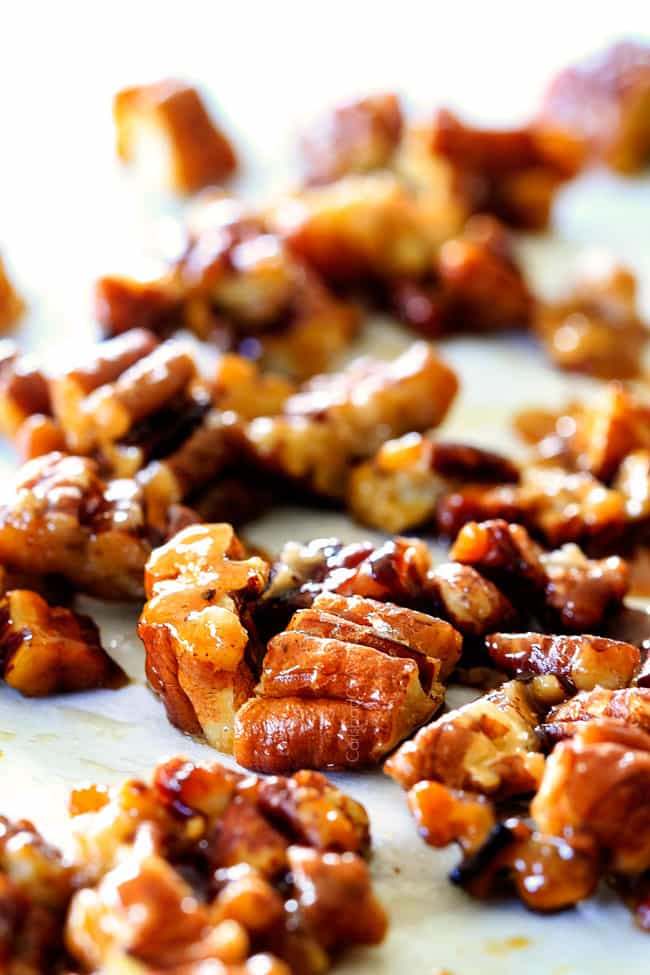 Close up of Caramelized Pecans for Roasted Butternut Squash Salad.