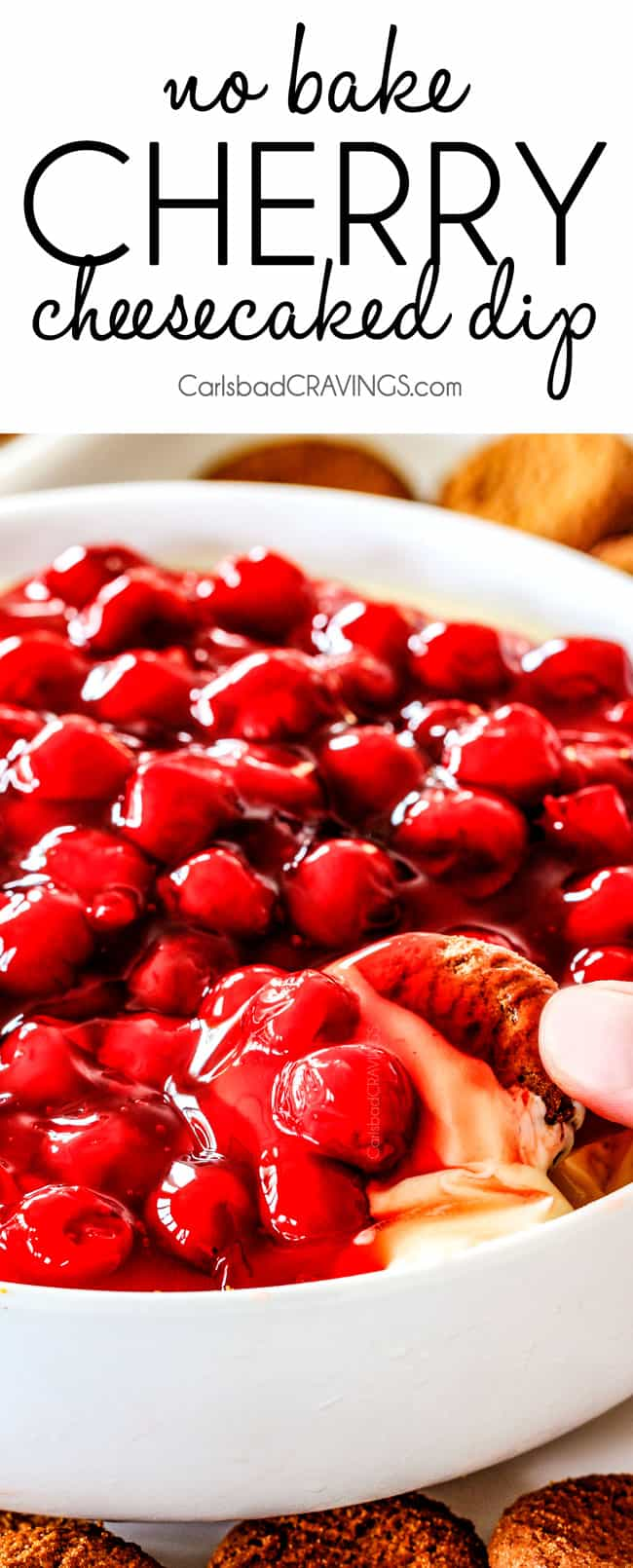 Easy, creamy NO BAKE Cherry Cheesecake Dip is one of the easiest AND most delicious desserts/appetizers that comes together in minutes! The perfect make ahead, stress free, crowd pleaser for all your holiday parties!