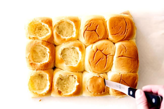 showing how to make meatball sliders by cutting the tops out of Hawaiian rolls