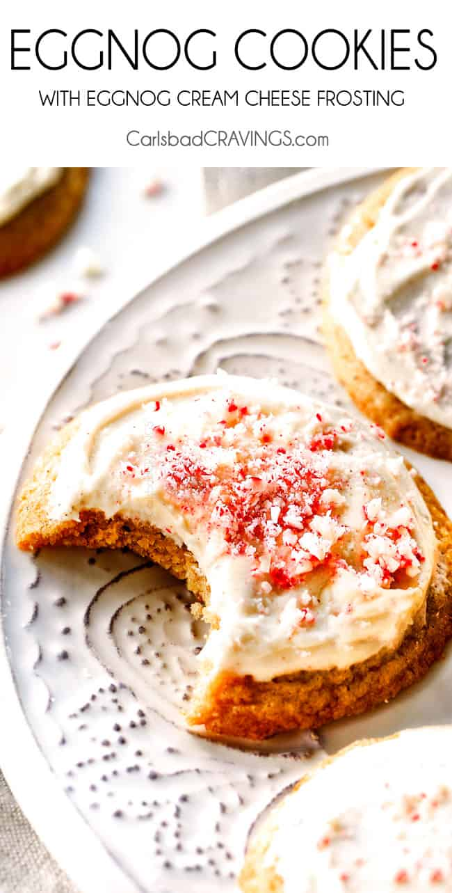 These crazy soft Eggnog Cookies with Eggnog Frosting our our family's new favorite holiday cookie! I have tried other versions but this one is the best! You HAVE to make these!
