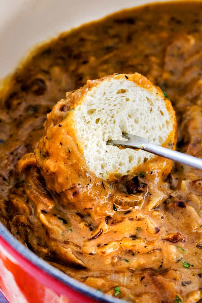 This French Onion Cheese Fondue with rich, deeply caramelized onions and bubbling Gruyere and Smoked Gouda is a party MUST! Its easy to prepare, crazy delicious and the hit of every party!
