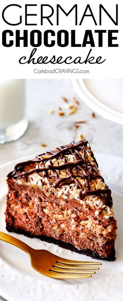 German Chocolate Cheesecake AKA the best German Chocolate anything! The rich and creamy chocolate cheesecake has a hidden layer of traditional caramel-eaque sweet and crunchy Coconut Pecan Frosting and another layer on top! This cheesecake is to live for!