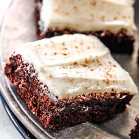 Gingerbread Brownies with Eggnog Frosting