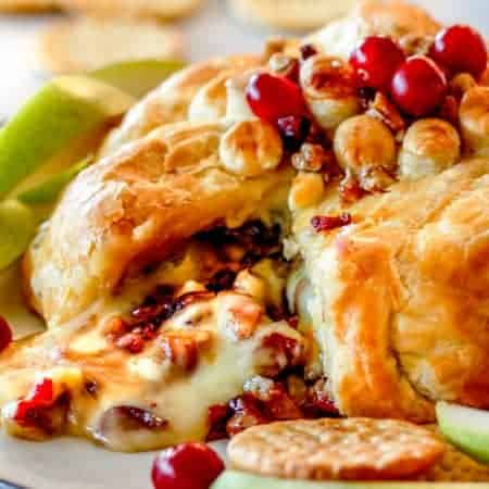 Stuffed Baked Brie in Puff Pastry