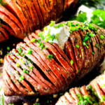 Hasselback Sweet Potatoes with Garlic Herb Butter