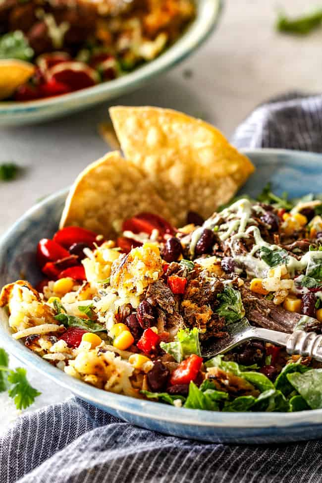 Barbacoa Beef Taco Bowls with Hash Browns & Avocado Ranch