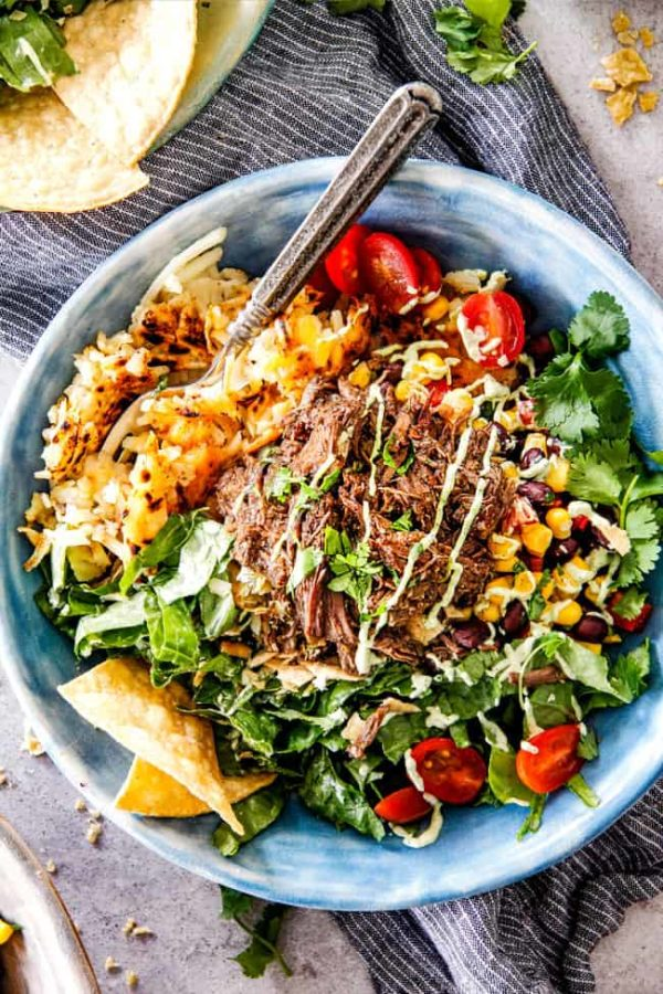 Barbacoa Beef Taco Bowls With Cheesy Hash Browns And Avocado Ranch