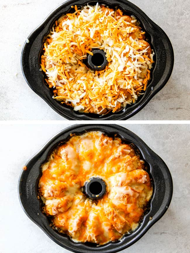 showing how to make Buffalo Chicken bread ring by melting cheese on top of the biscuit ring in a bundt pan