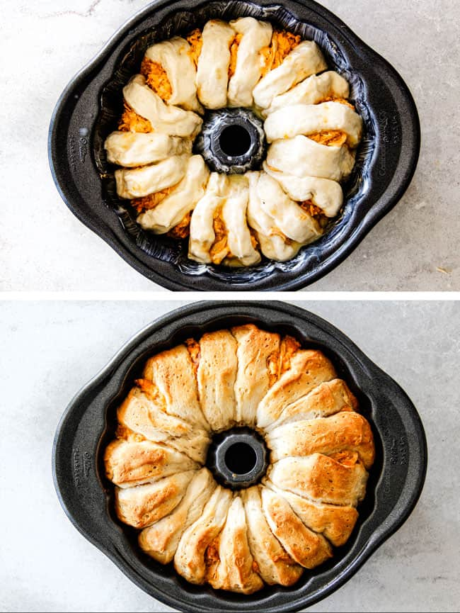 showing how to make Buffalo Chicken Pull Apart Bread by adding biscuits and buffalo chicken dip to a bundt pan and baking until golden