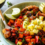 Cajun Chicken Black Bean Bowls with Avocado, Sweet Potatoes & Pineapple