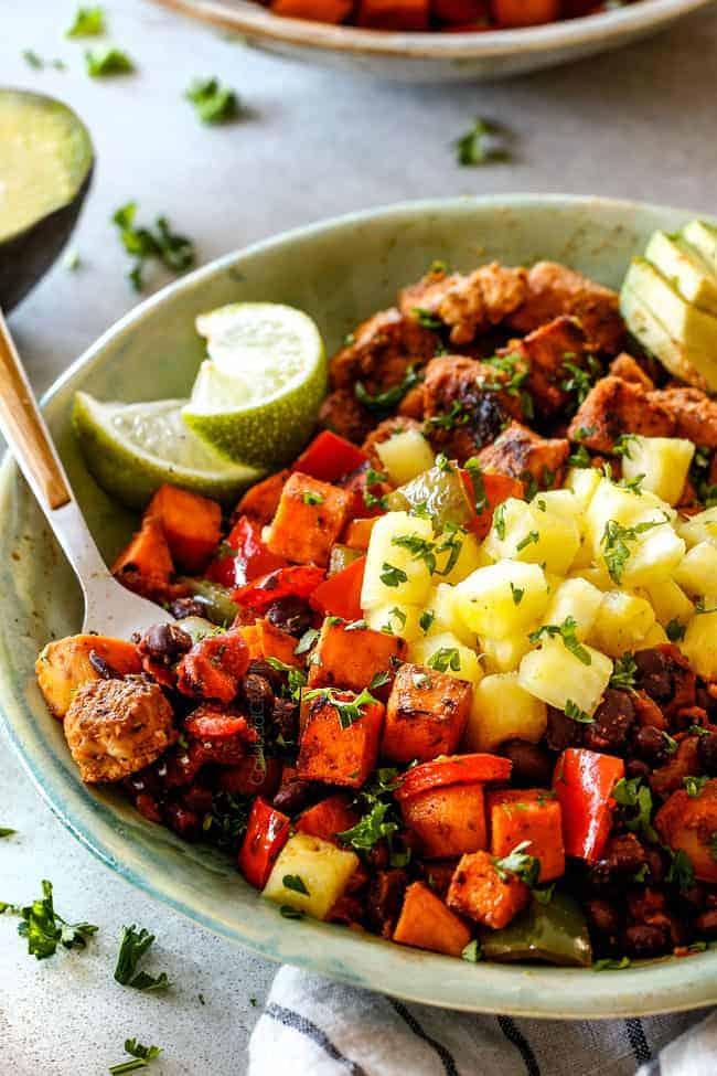 Cajun Chicken Black Bean Bowls with Avocado.