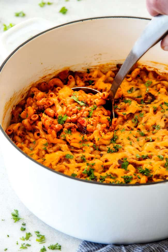 ONE POT Chili Mac and Cheese is on your table in under 30 Minutes!  It's Chili Con Corne + Macaroni and Cheese = crazy delicious, comforting new family favorite!