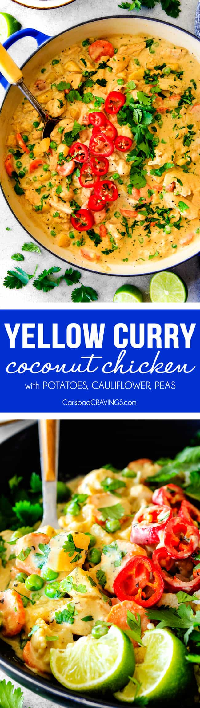 This EASY Thai Yellow Curry Chicken tastes straight out of a restaurant! Its wonderfully thick and creamy, bursting with flavor and veggies (I highly recommend the listed potatoes, cauliflower and peas) and all made in one pot! Definitely a hit at our house!