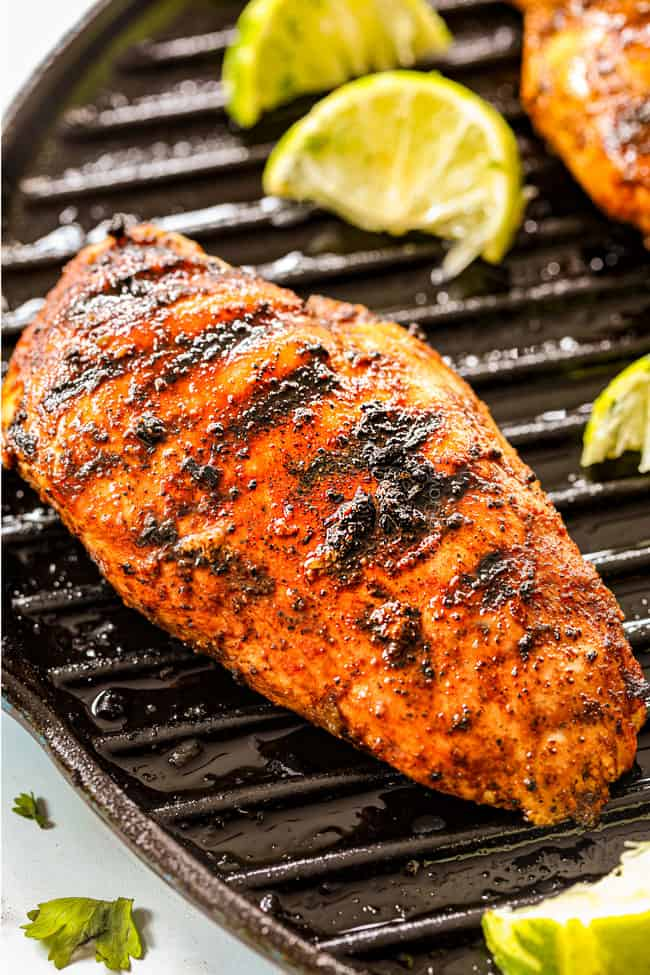 showing how to make Chili Lime Chicken by cooking in a grill pan