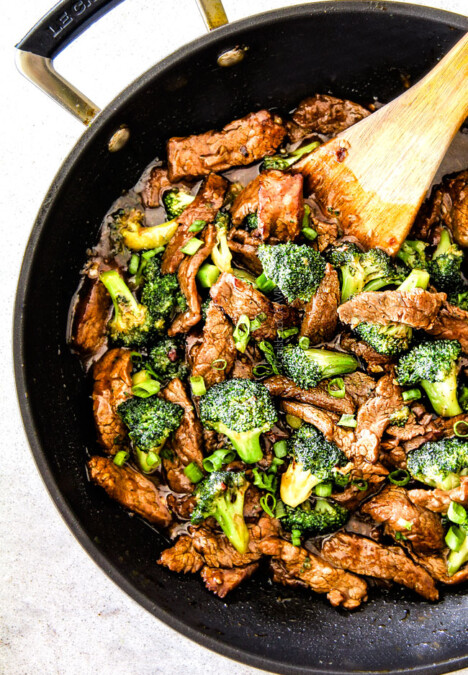 top view of easy Beef and Broccoli in a black skillet