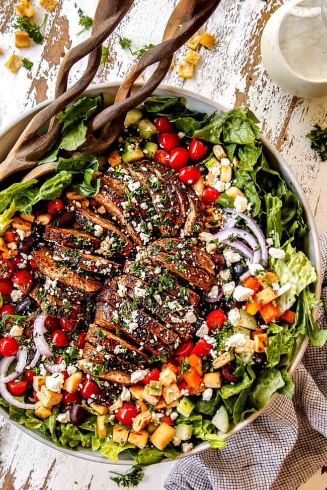 Greek Chicken Marinade on chicken in a Greek salad.