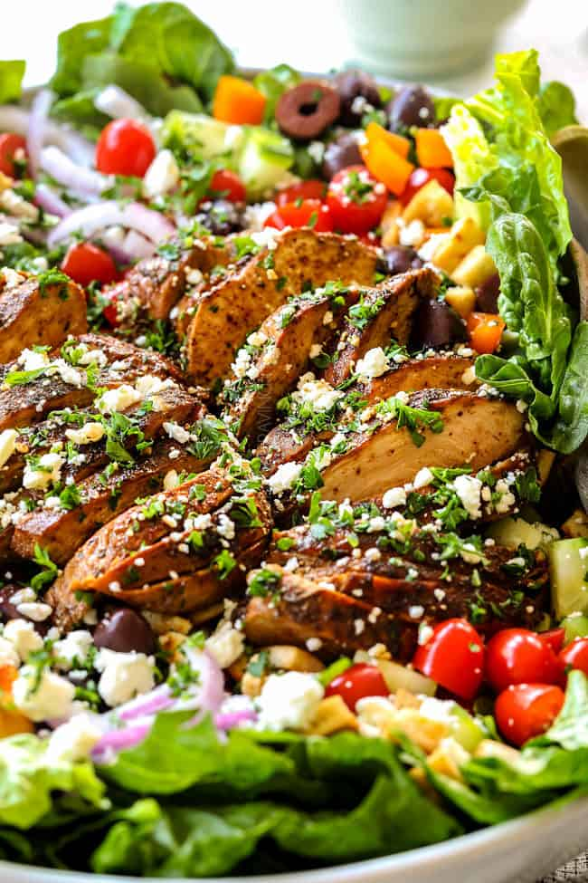 the best Greek Chicken  Salad Recipe in a white bowl