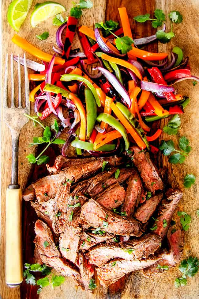 showing how to make steak fajitas by assembling fajitas with thinly sliced stead and bell peppers