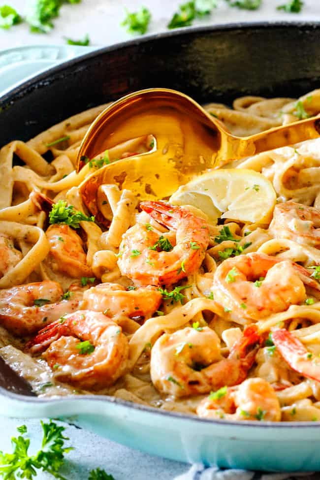 Lemon Garlic shrimp fettuccine in a skillet