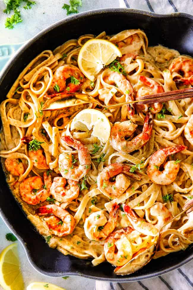 Top shot of Lemon Garlic Shrimp Fettuccine