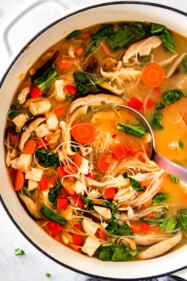 30 MINUTE Miso Soup recipe bursting with chicken, noodles and vegetables swimming in a steaming hot, savory, salty broth is a meal-in-one all made in ONE POT!