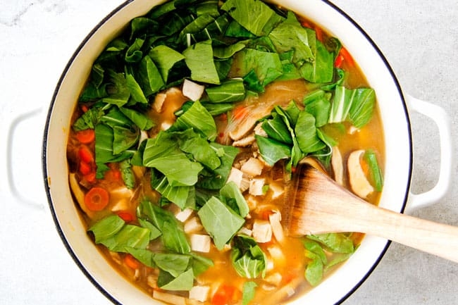 How to make Miso Soup - add chicken, bell peppers and bok choy