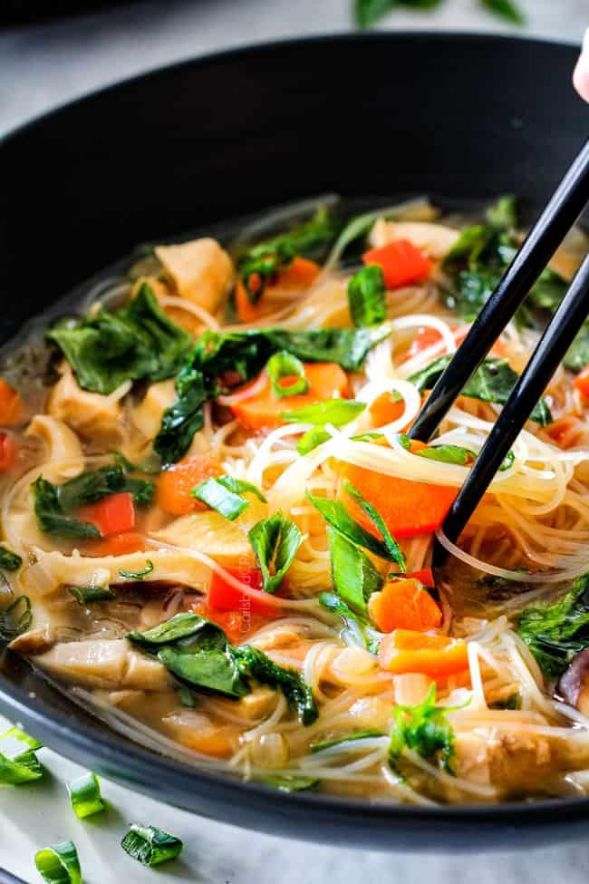 Miso Soup with chop sticks.