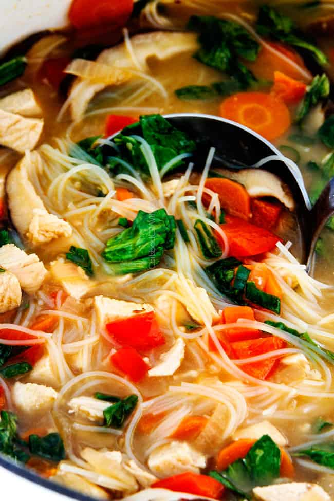 Miso Soup with noodles and chicken.