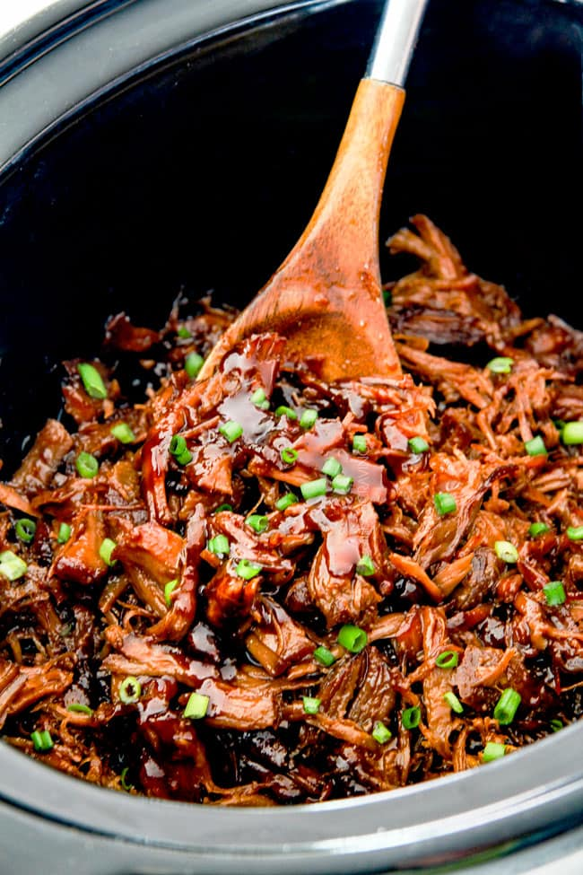 Slow cooker Asian Caramel Pulled Pork in slow cooker