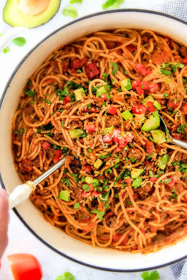 20 Minute Taco Spaghetti is all you favorite taco flavors in comforting spaghetti form! Simple prep, minimal cleanup, tons of flavor!  Your family will LOVE this!!!