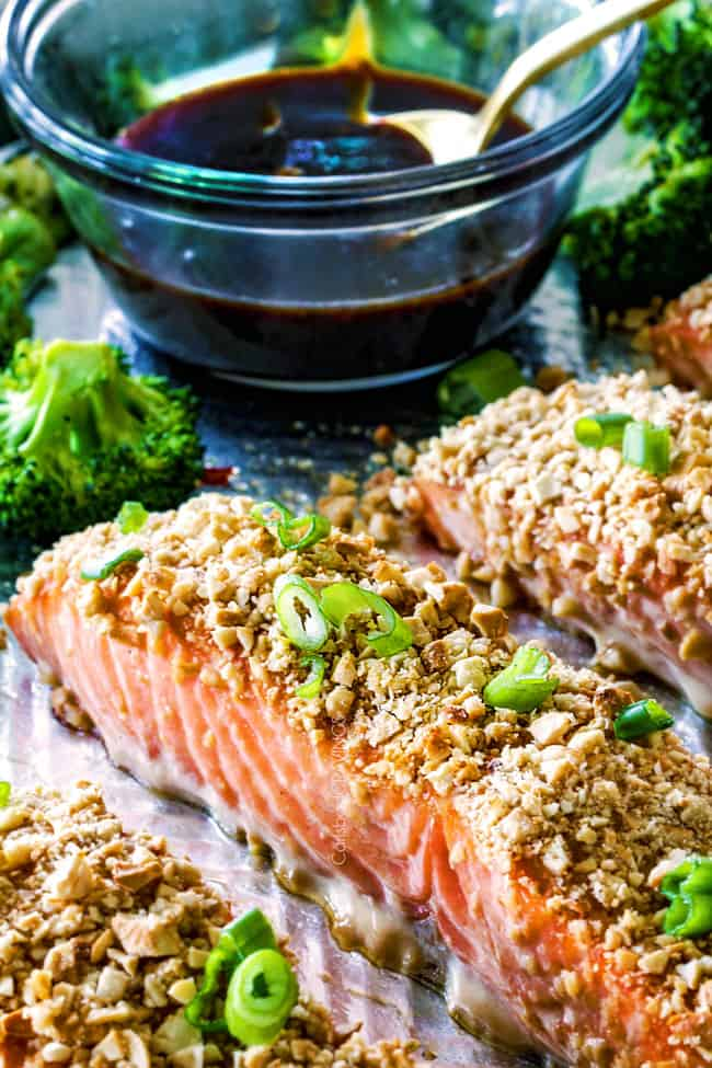 Cashew Crusted Honey Soy Salmon on baking sheet