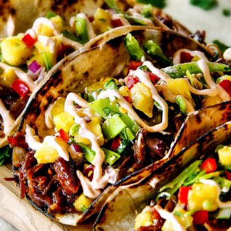 Asian Pulled Pork Tacos with Pineapple Snow Pea Salsa