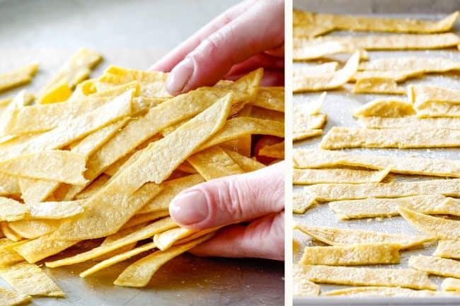 Showing How to Make Tortilla Strips for creamy Chicken Enchilada Soup by tossing tortilla strips with vegetable oil and lining on a baking sheet